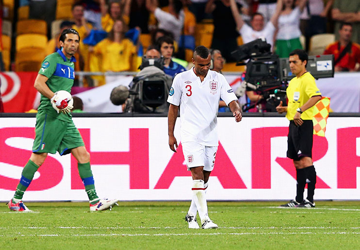 KIEV, UKRAINE - JUNE 24: Ashley Cole of England looks dejected after his penalty was saved during the UEFA EURO 2012 quarter final match between England and Italy at The Olympic Stadium on June 24, 2012 in Kiev, Ukraine. (Photo by Alex Livesey/Getty Images)