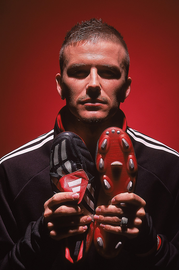 Jan 2002: David Beckham takes delivery of his brand new adidas Predator Mania boots which he will wear against Holland in Amsterdam on February 13th. Mandatory Credit: Gary M. Prior/Getty Images