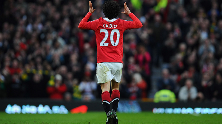 Fabio Da Silva celebrates a goal for Man United against Arsenal in the 2011 FA Cup