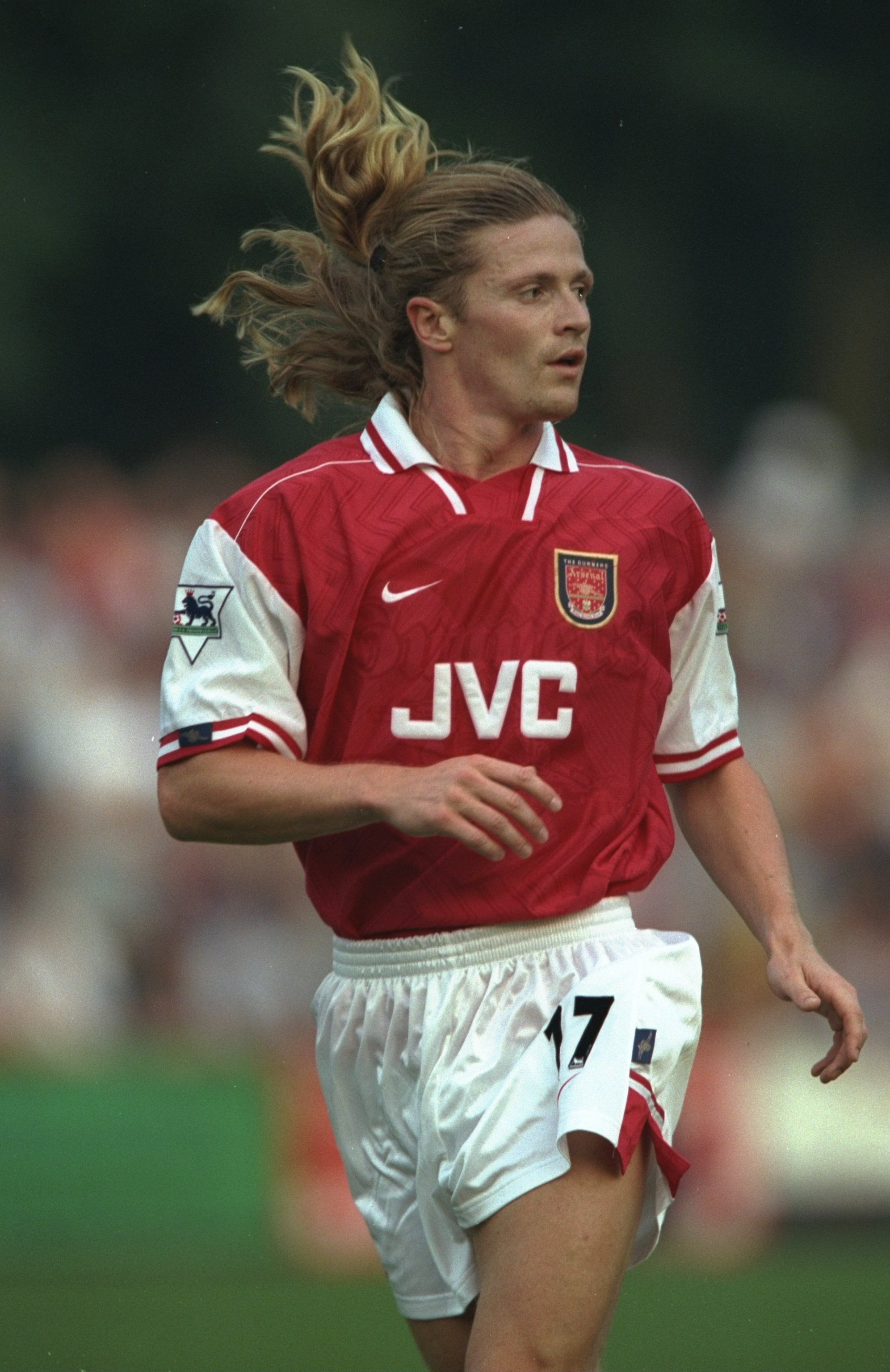 8 Jul 1997:  Emmanuel Petit of Arsenal in action during the pre-season friendly against St. Albans in St. Albans, England.  Mandatory Credit: Ben Radford /Allsport