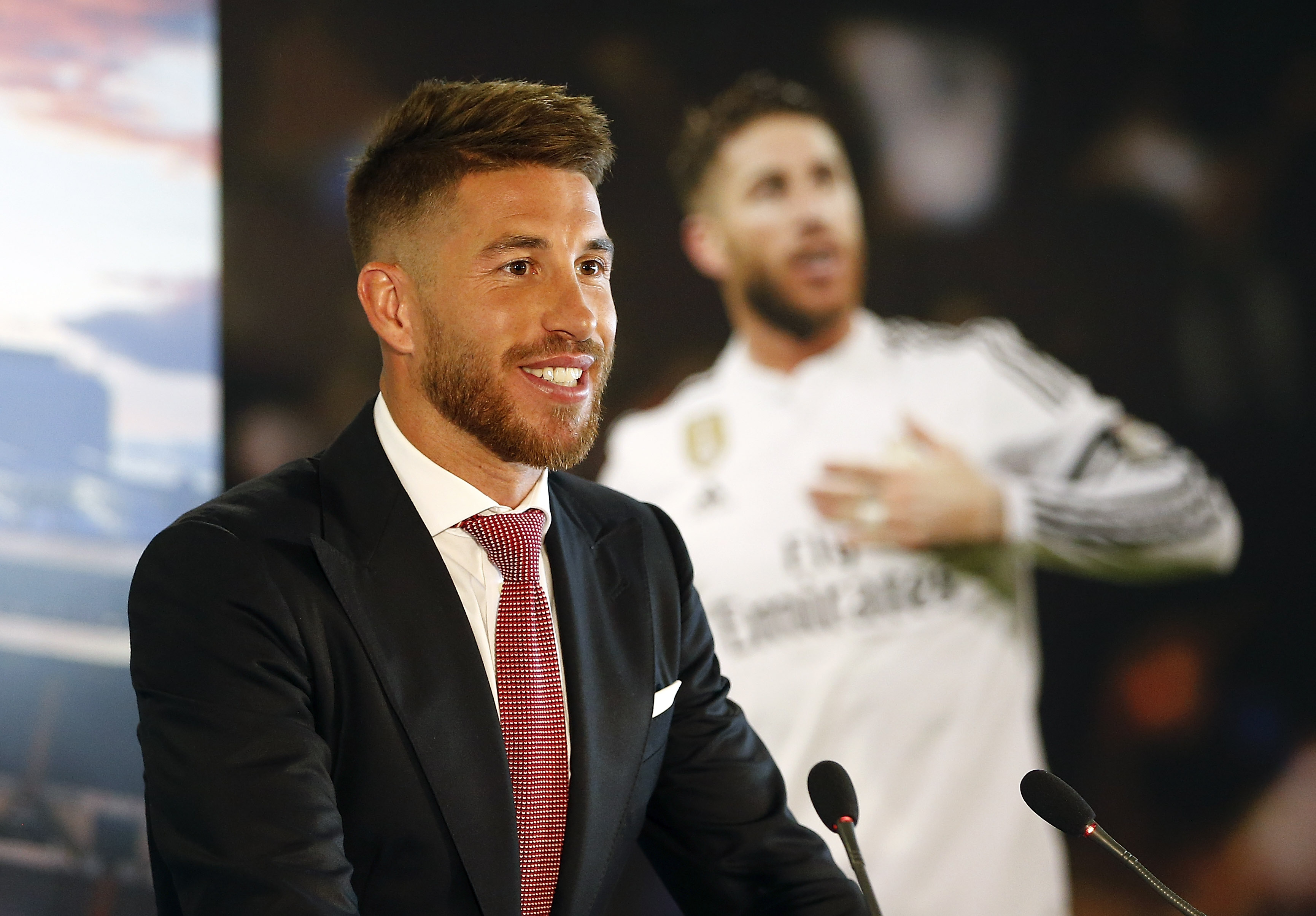 MADRID, SPAIN - AUGUST 17:  Sergio Ramos of Real Madrid speaks during a press conference to announce Ramos