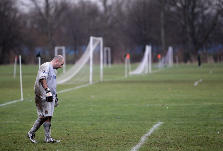 LONDON, ENGLAND - JANUARY 24: Sunday League goalkeeper looks on during a match on the Hackney Marshes
