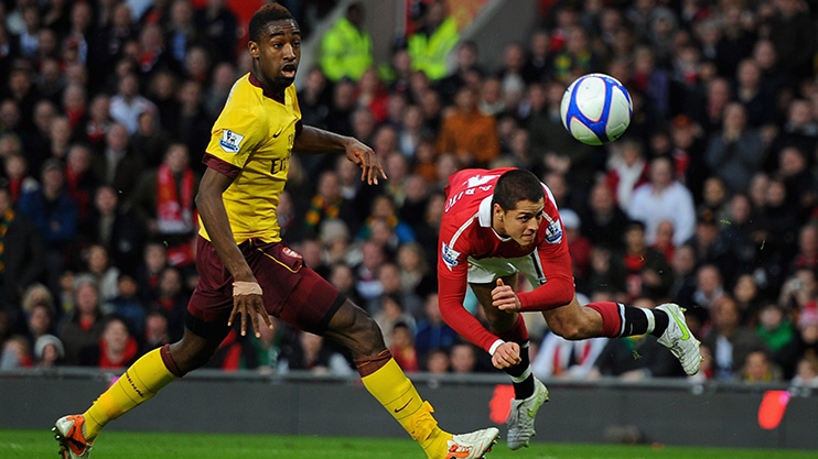 Johan Djourou in action for Arsenal against Man Untied