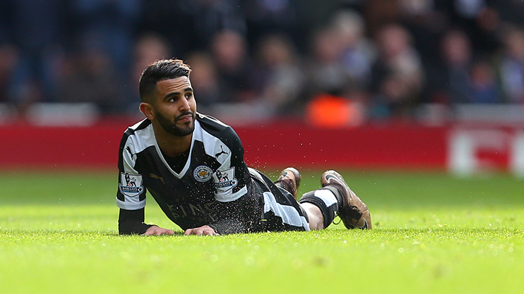 Leicester City playmaker Riyad Mahrez on the turf during a 2-1 defeat to Arsenal at the Emirates Stadium