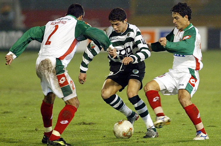 Ronaldo as a fleet-footed youngster at Sporting