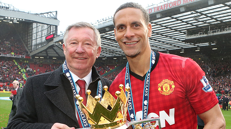 Ferdinand poses with a fan