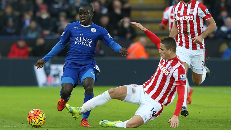 N'Golo Kante in action for Leicester in their title winning season