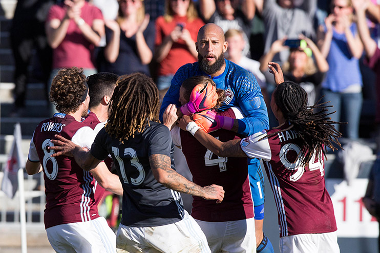 Nov 6, 2016; Commerce City, CO, USA; Colorado Rapids midfielder Dillon Powers (8) and midfielder Jermaine Jones (13) and defender Marc Burch (4) and midfielder Marlon Hairston (94) congratulate goalkeeper Tim Howard (1) after the match against the Los Angeles Galaxy at Dick