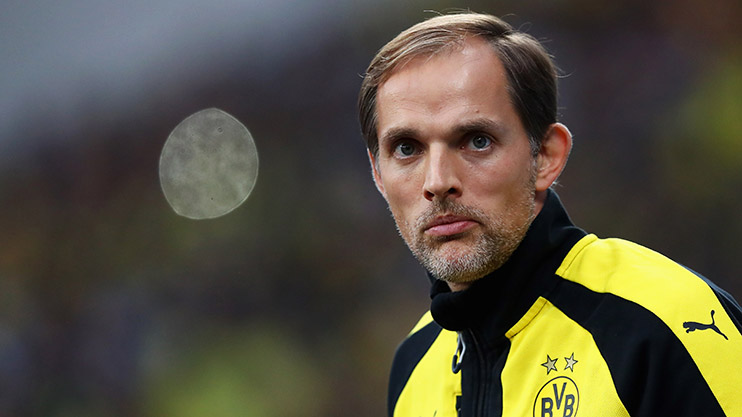 LEVERKUSEN, GERMANY - OCTOBER 01:  Borussia Dortmund Head Coach / Manager, Thomas Tuchel looks on during the Bundesliga match between Bayer 04 Leverkusen and Borussia Dortmund at BayArena on October 1, 2016 in Leverkusen, Germany.  (Photo by Dean Mouhtaropoulos/Bongarts/Getty Images)