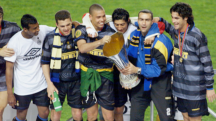 Image result for Photos of Inter winning the UEFA Cup 1998