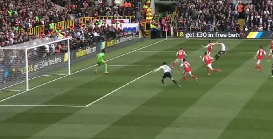 Kane's shot takes a kind deflection