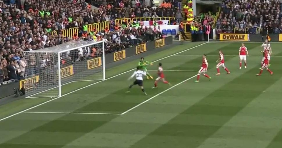 The ball loops in Alli's direction