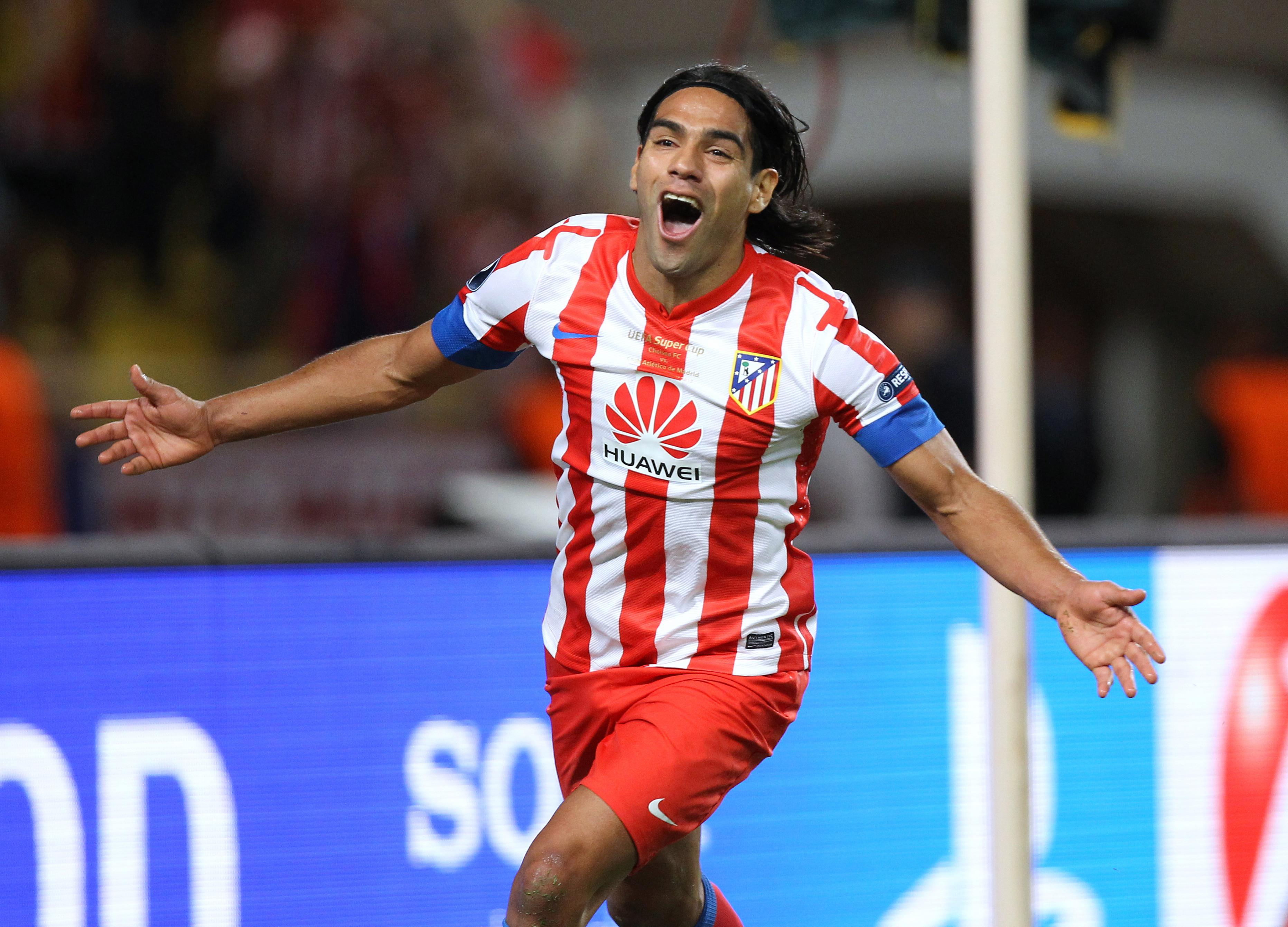 Atletico Madrid's Colombian forward Radamel Falcao celebrates after scoring a third goal during the UEFA Super Cup football match Chelsea FC versus Club Atletico Madrid, on August 31, 2012 at the Stade Louis II, in Monaco. AFP PHOTO / VALERY HACHE (Photo credit should read VALERY HACHE/AFP/GettyImages)