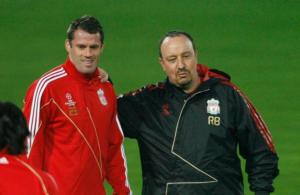 Jamie Carragher and Rafael Benitez during their time together at Liverpool