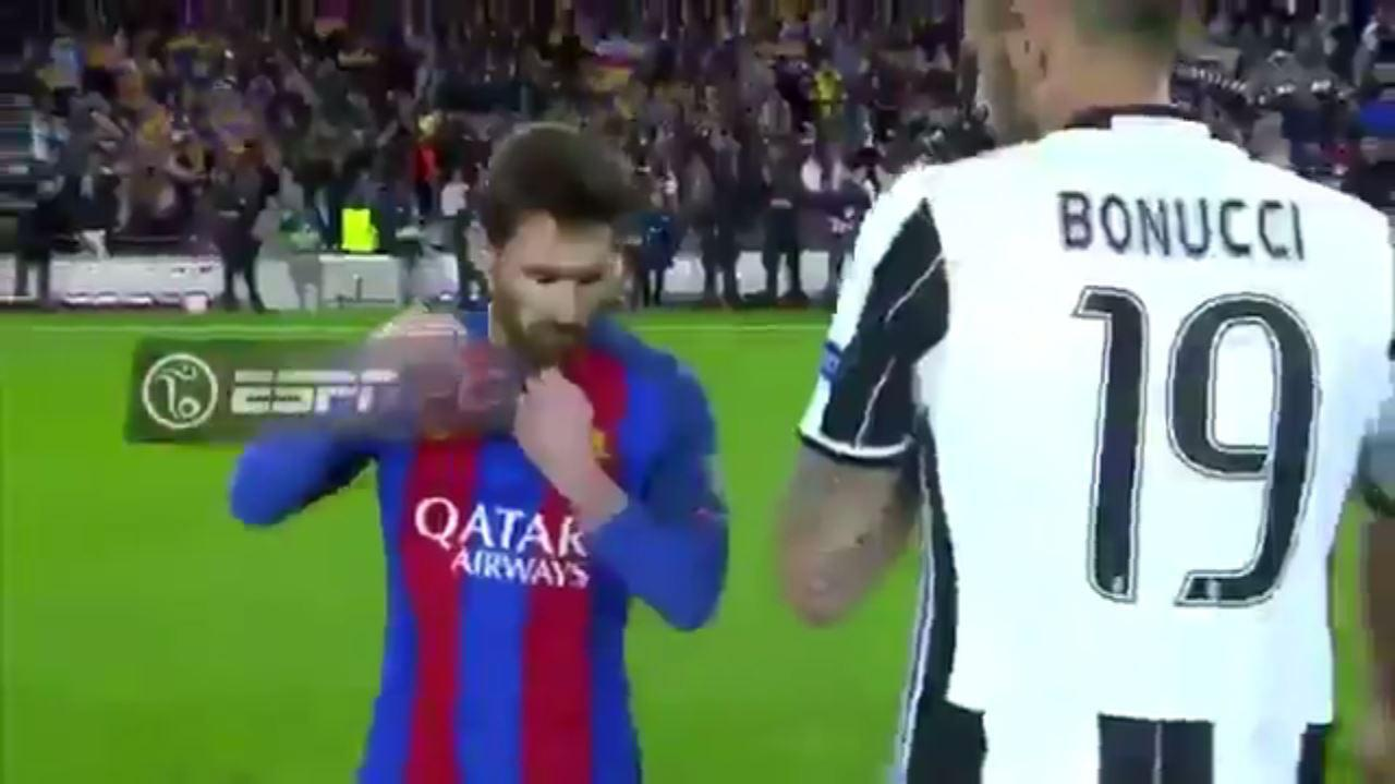 Lionel Messi and Leonardo Bonucci trade shirts after the full-time whistle at the Nou Camp
