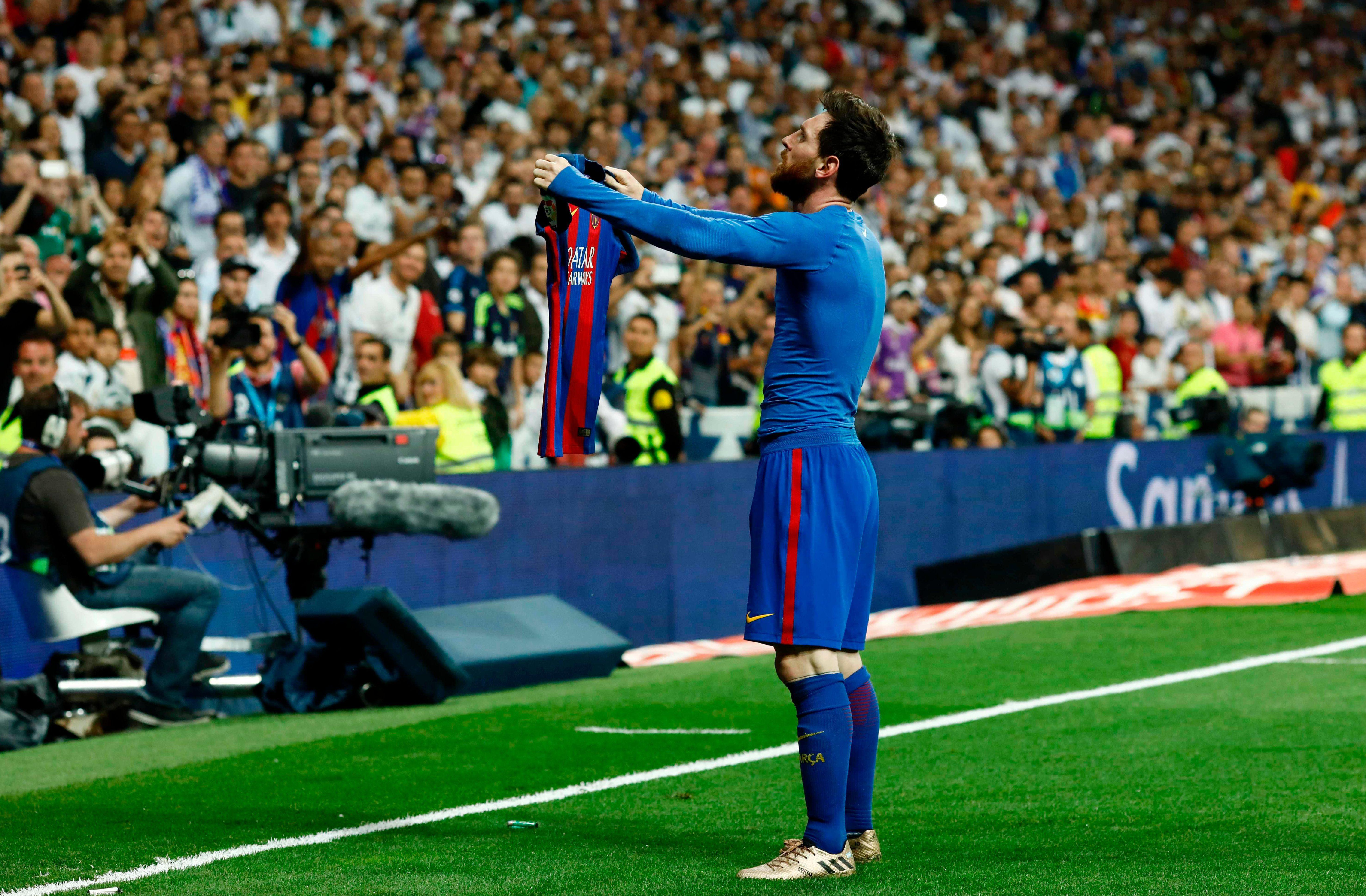 Lionel Messi was booked for taking his shirt off in an iconic celebration that left the ref no choice