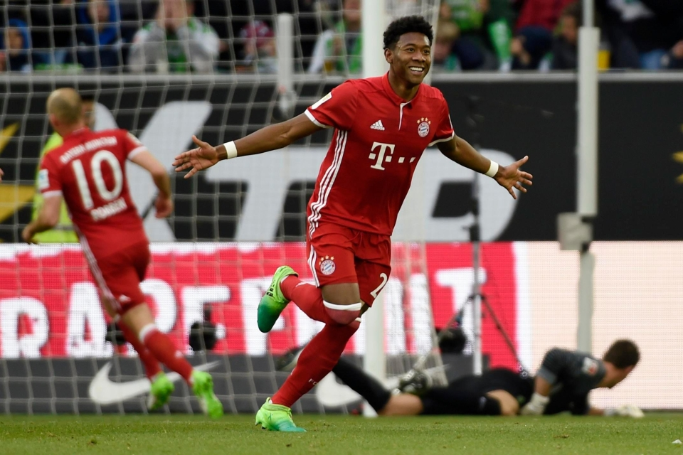 David Alaba opened the scoring for Bayern Munich in win over Wolfsburg