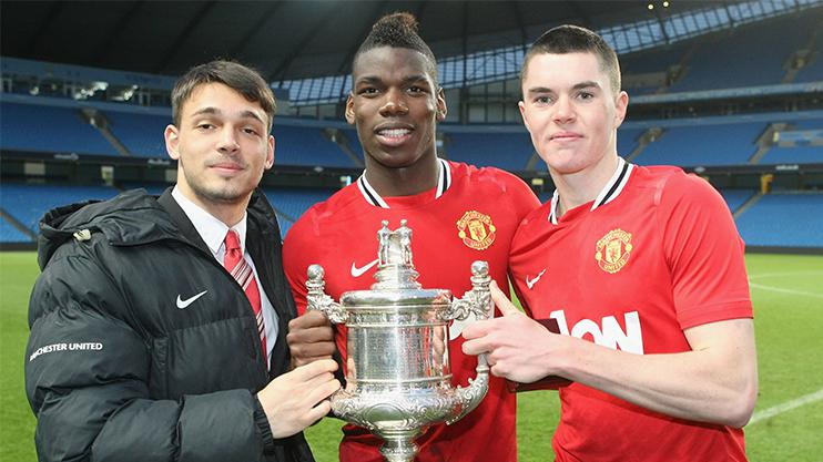Keane celebrates the FA Youth Cup victory with Paul Pogba in 2011