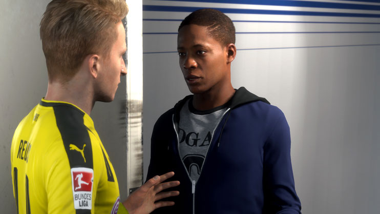 Marco Reus chats with Hunter in FIFA 17s The Journey