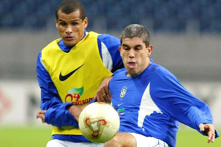 Ricardinho battles with Rivaldo in a training session