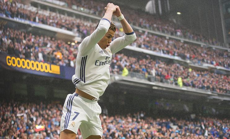 Ronaldo's trademark celebration followed the landmark goal