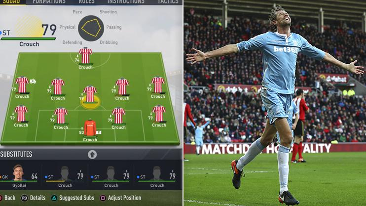 This is how Team Crouch lined up – you'd think given his 6ft 7ins frame the Stoke star would make a decent keeper