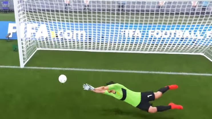 Suarez at full stretch to deny a close-range shot