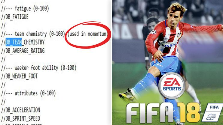 This is the alleged game code found in FIFA 17's files that some fans believe is proof momentum still exists