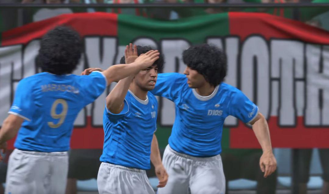 Team Maradona celebrate the equaliser – but it's not long before Team Messi take the lead again
