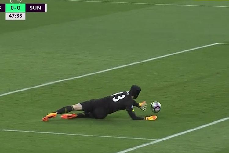 Cech is left scrambling to stop the own goal