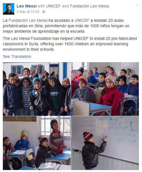 A post on Messi's Facebook page announced he was funding 20 new classrooms in Syria