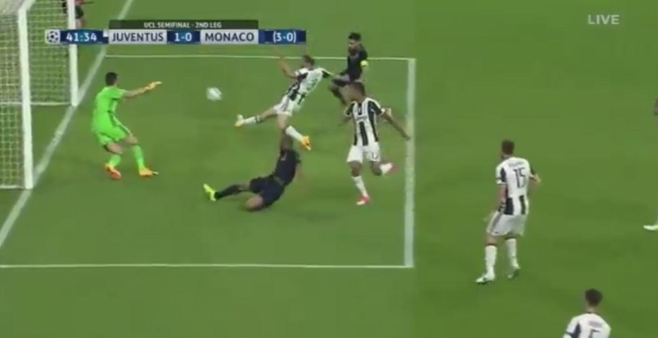 Chiellini has to make contact or Falcao has a tap in