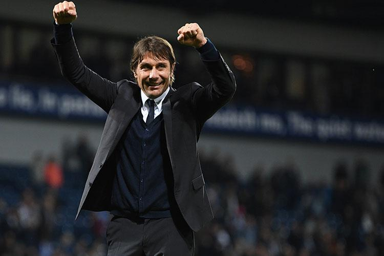 Antonio Conte celebrates after Chelsea wrapped up the title at West Brom