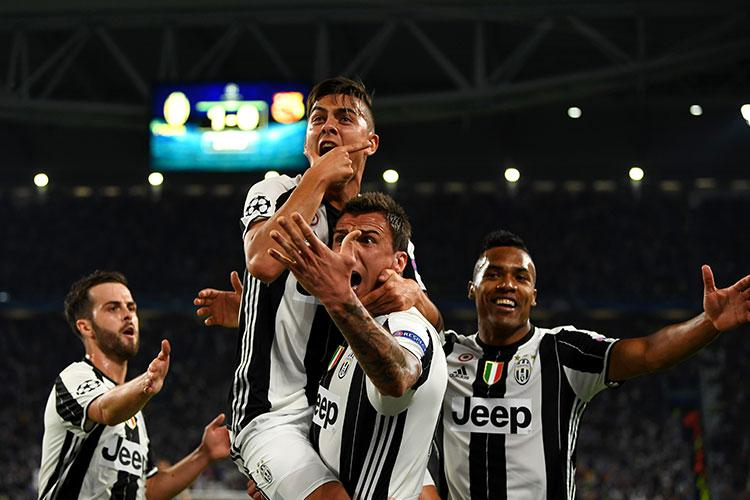 Dybala scored twice against Barcelona in the Champions League quarter-final
