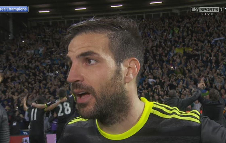 Cesc Fabregas swore in front of live TV cameras
