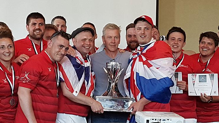 Team UK's captain Mark Scotchford (left) with FootGolf creator Michael Jansen