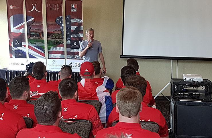 Michael Jansen address Team UK and Team USA at the Jansen Cup