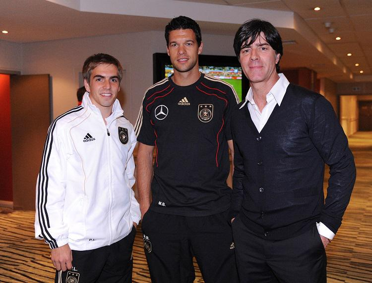 Lahm and Ballack with Joachim Low in 2010 following the captaincy switch