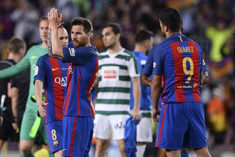 Messi applauds the fans having just given them something to savour