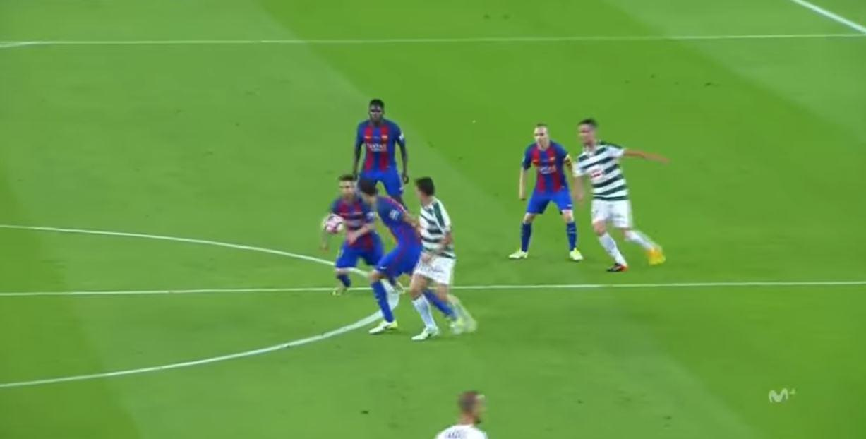The ball breaks to Messi on the halfway line