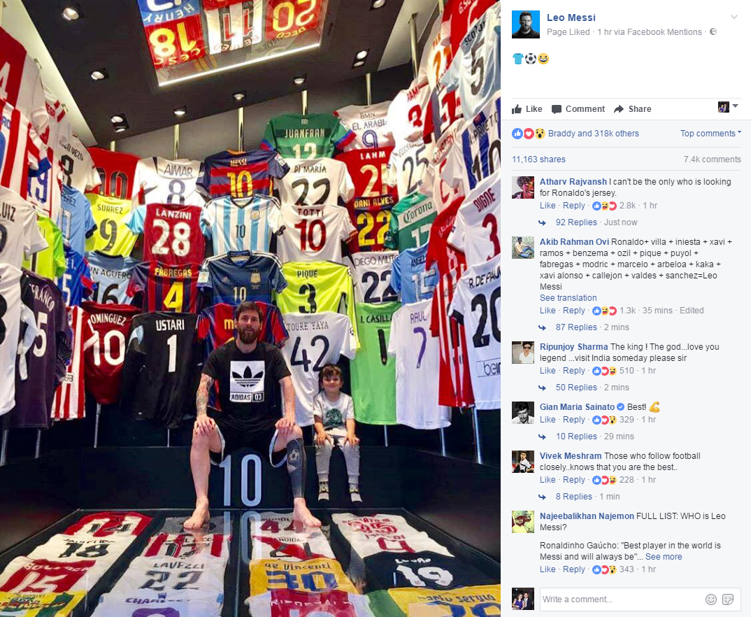 Lionel Messi proudly displays his shirt collection alongside his son Thiago