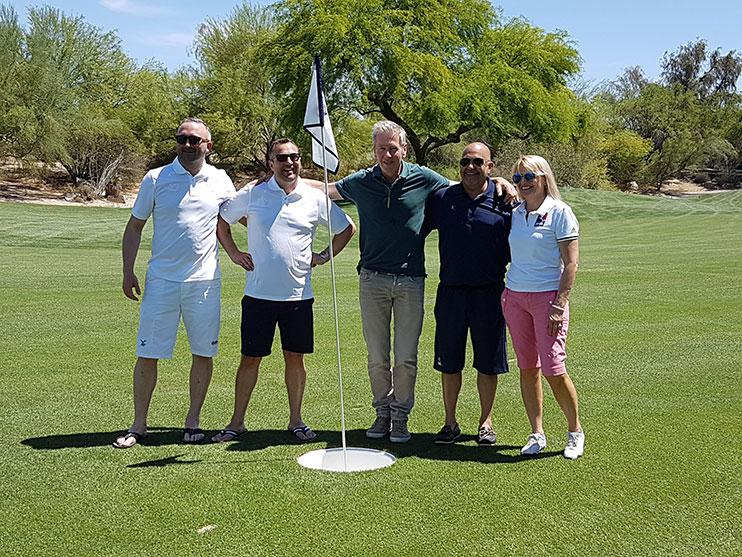 Michael Jansen (middle) with UK FootGolf's Kieran Lawry, Mike O'Connor (left) and FootGolf USA's Roberto and Laura Balestrini (right)