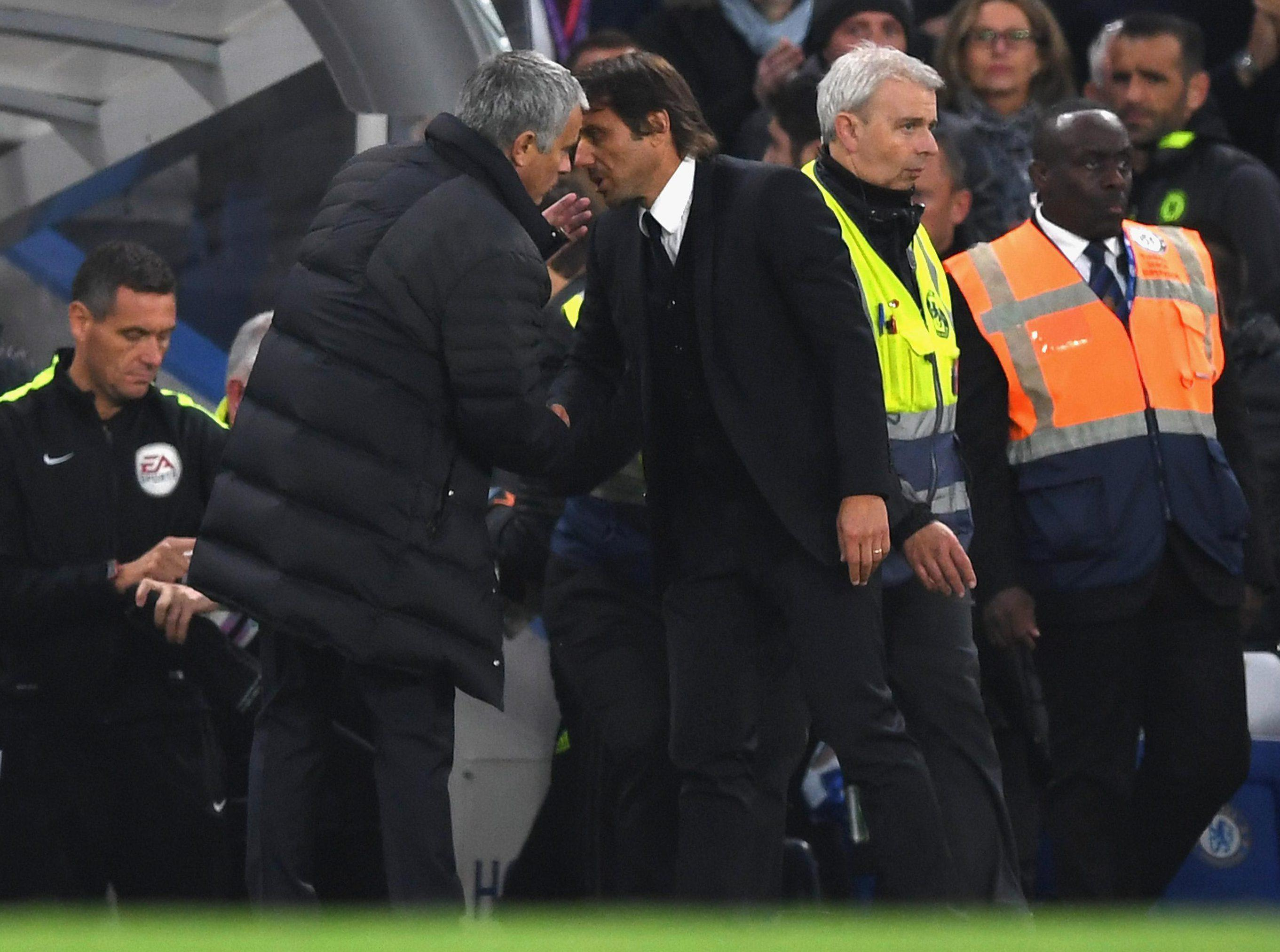 Jose Mourinho shakes hands with Antonio Conte during Manchester United against Chelsea this season