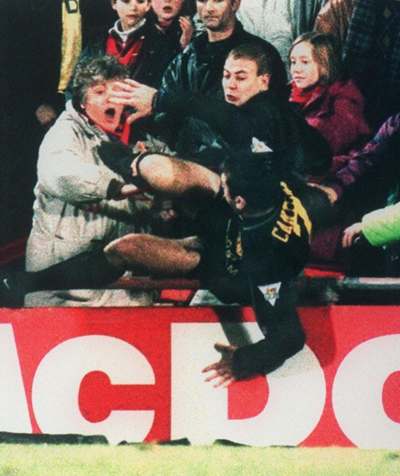 Cantona kicks the Palace fan