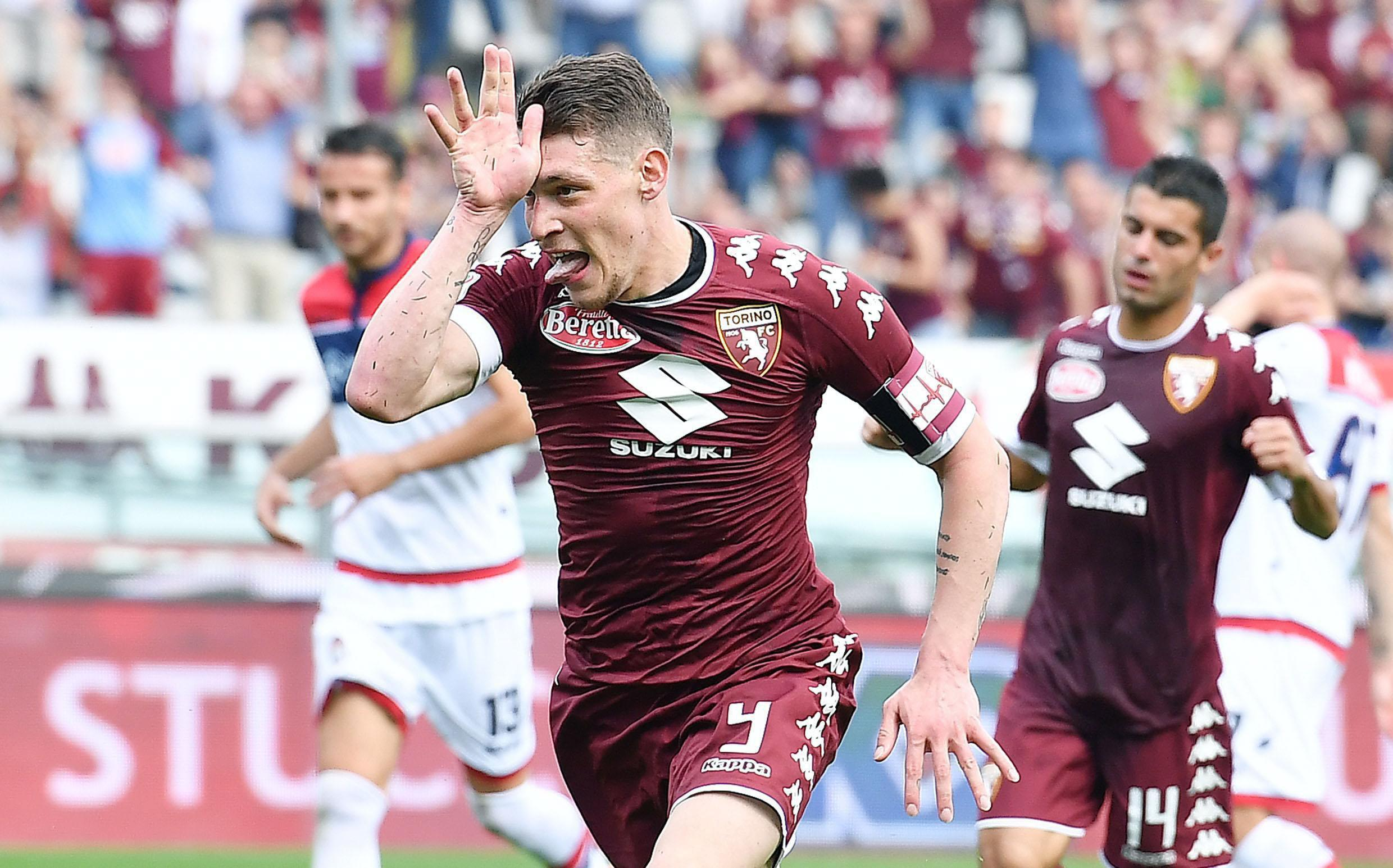 Andrea Belotti with his trademark celebration in Serie A for Torino