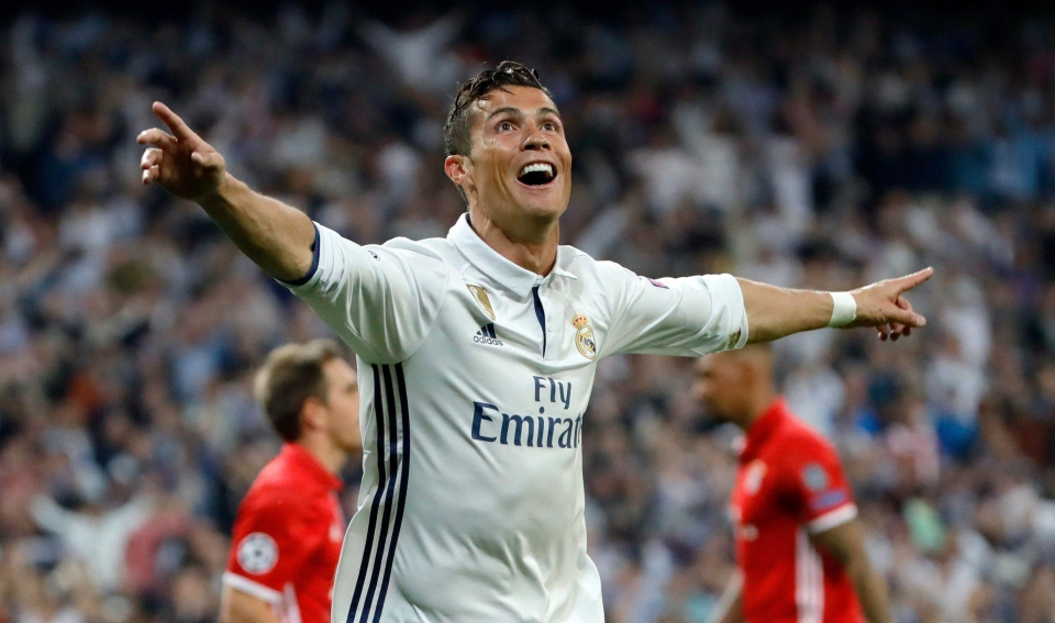 Cristiano Ronaldo scored a hat-trick as Real Madrid beat Bayern Munich