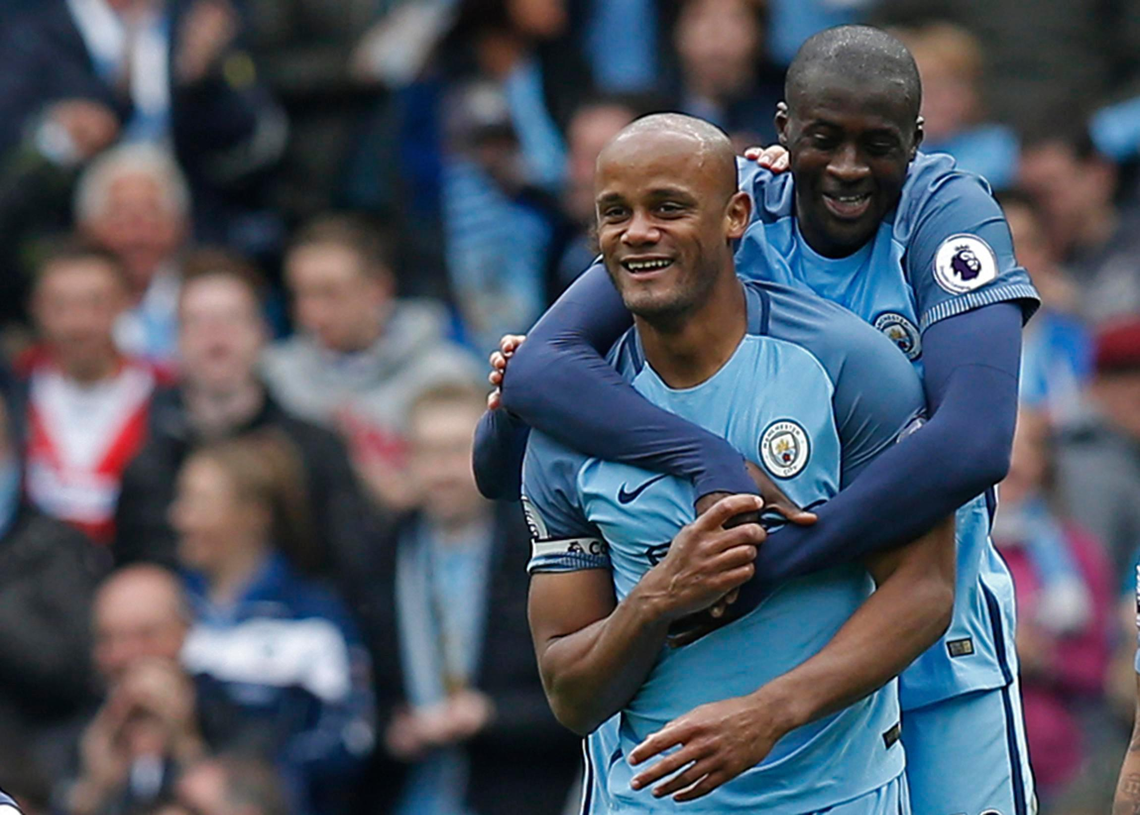 Toure celebrates Vincent Komapnay's goal against Crystal Palace