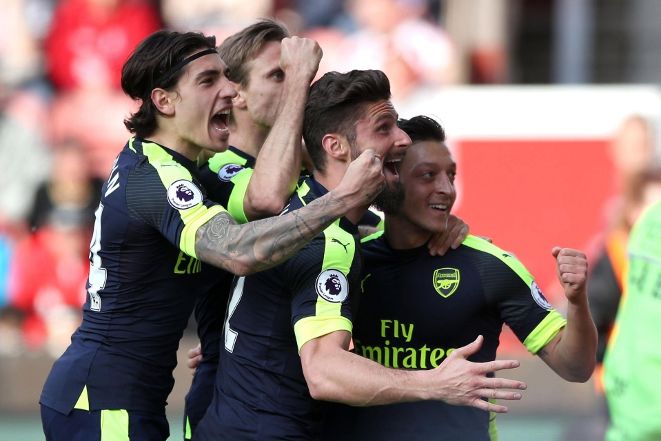 There was delight for the Arsenal players after the win