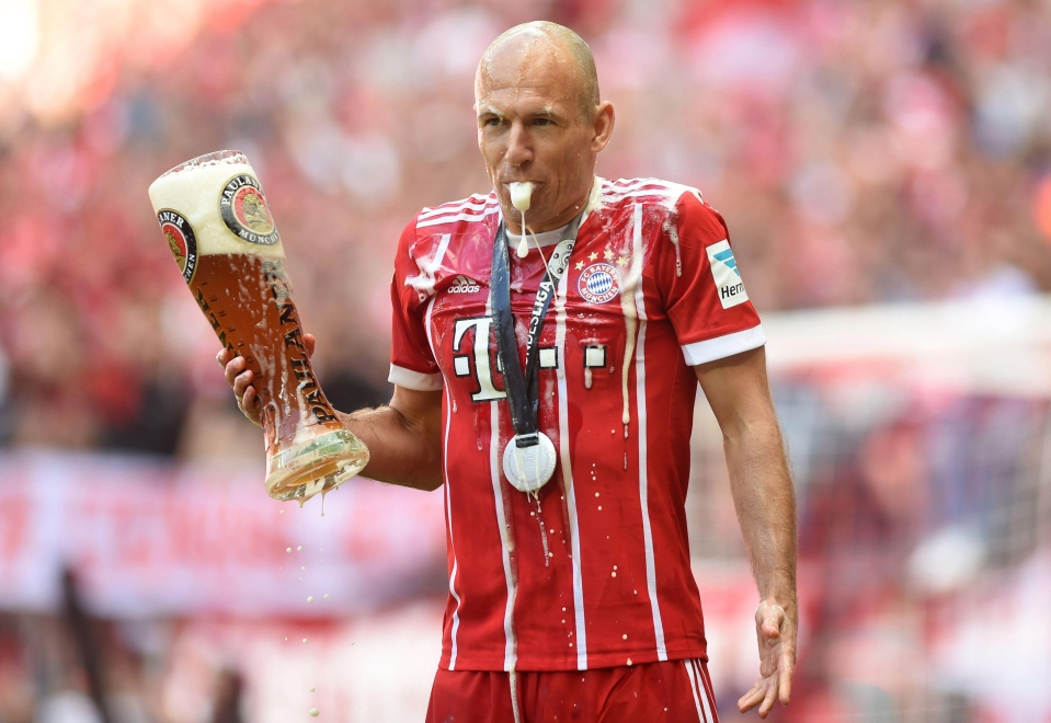 Arjen Robben later got soaked himself following the beer-fuelled antics at the Allianz Arena