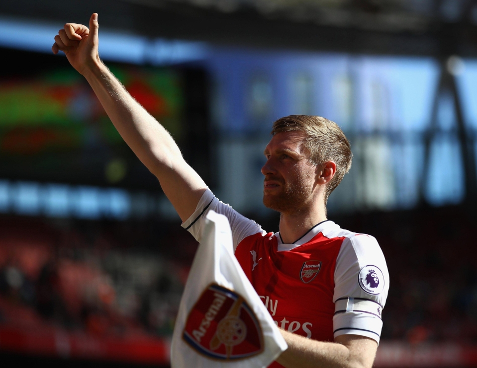 Per Mertesacker came on as a sub in Arsenal's last game of the season against Everton
